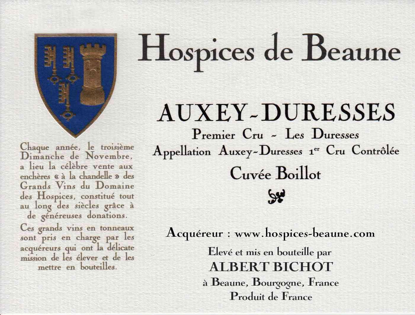 Encheres-auction-HospicesdeBeaune-AlbertBichot-AuxeyDuresses-PremierCru-Cuvee-Boillot