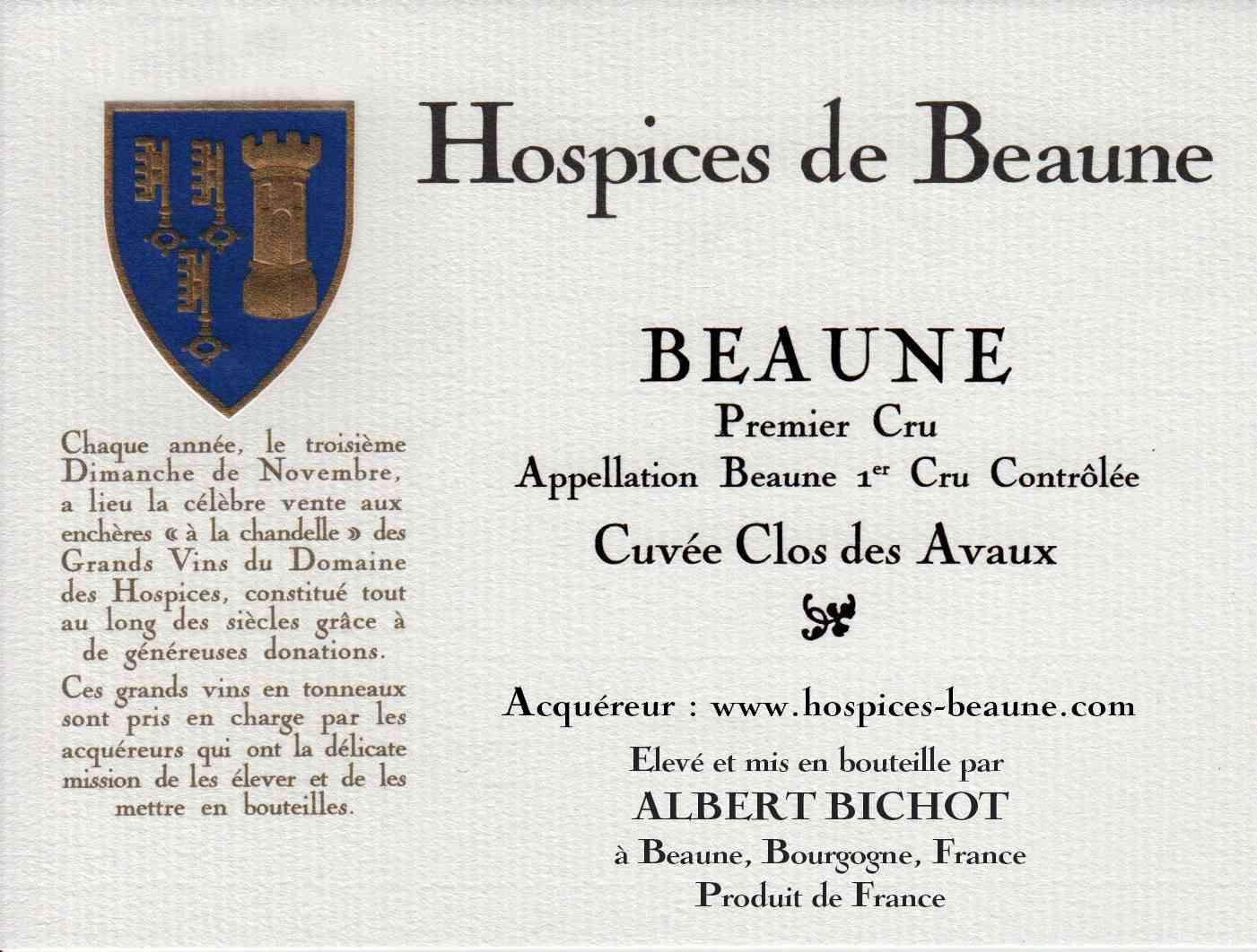 Encheres-auction-HospicesdeBeaune-AlbertBichot-Beaune1erCru-Cuvee-ClosdesAvaux