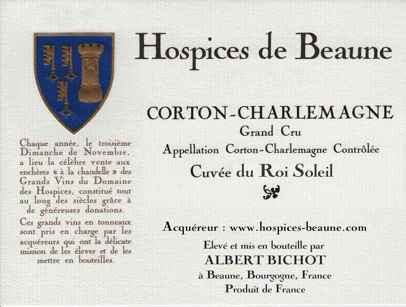 Encheres-auction-HospicesdeBeaune-AlbertBichot-CortonCharlemagne-GrandCru-Cuvee-RoiSoleil