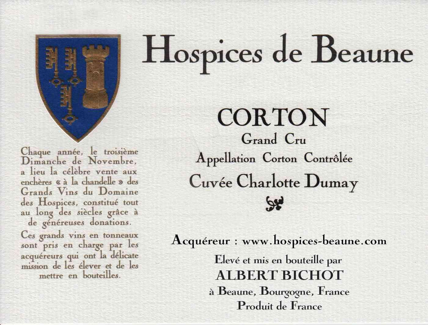 Encheres-auction-HospicesdeBeaune-AlbertBichot-CortonGrandCru-Cuvee-CharlotteDumay