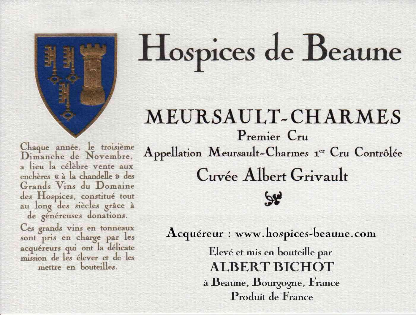 Encheres-auction-HospicesdeBeaune-AlbertBichot-Meursault-Charmes-PremierCru-Cuvee-AlbertGrivault