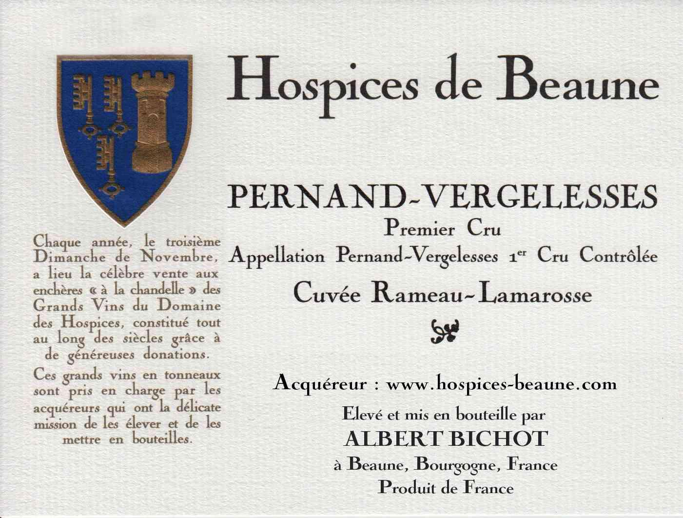 Encheres-auction-HospicesdeBeaune-AlbertBichot-PernandVergelesse-PremierCru-Cuvee-RameauLamarosse