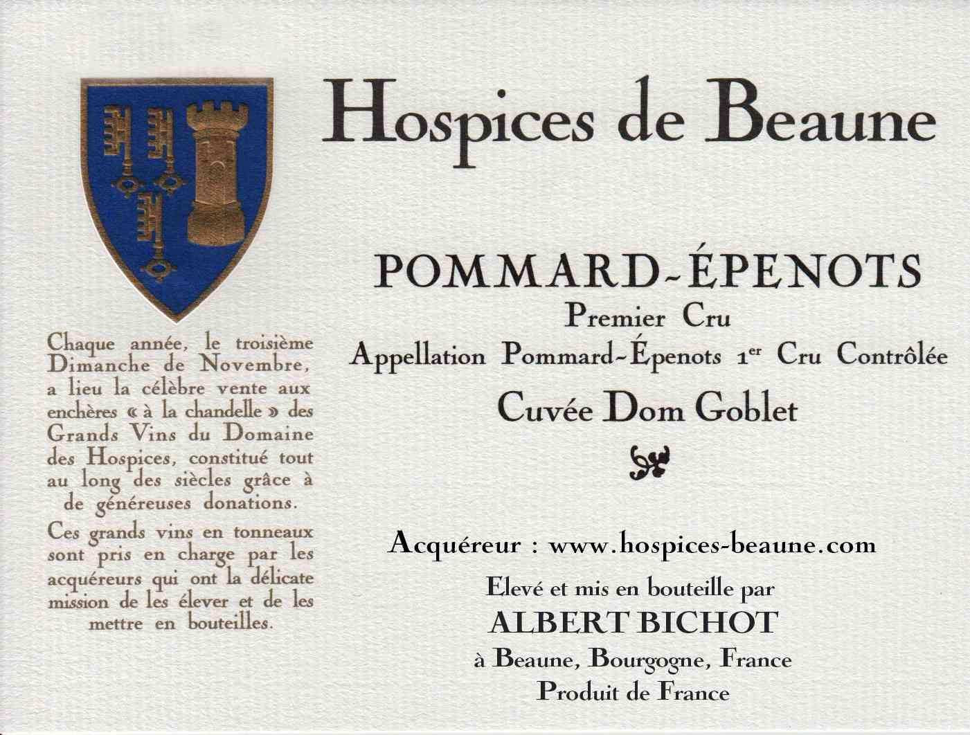 Encheres-auction-HospicesdeBeaune-AlbertBichot-PommardEpenots-PremierCru-Cuvee-DomGoblet