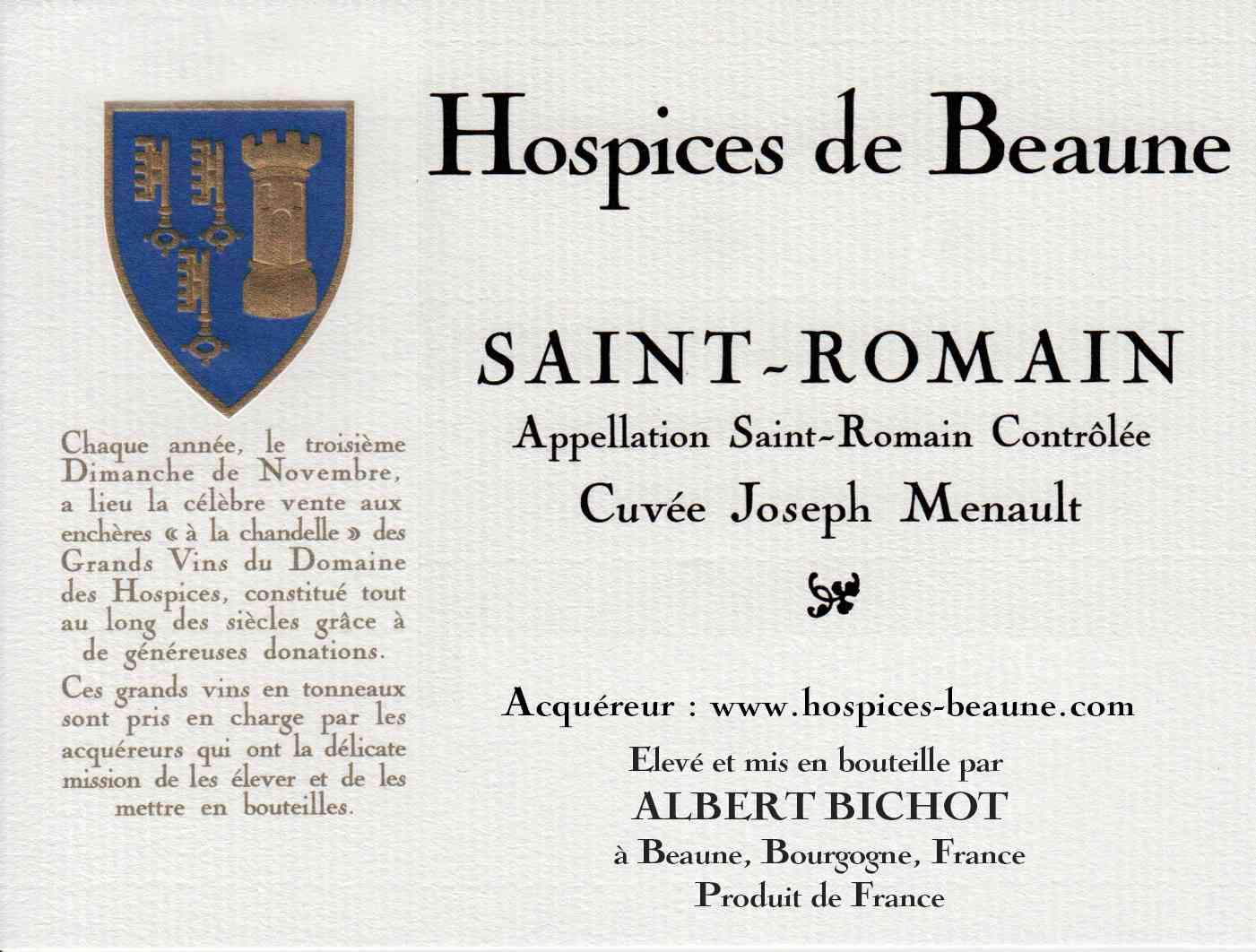 Encheres-auction-HospicesdeBeaune-AlbertBichot-SaintRomainPremierCru-Cuvee-JosephMenault