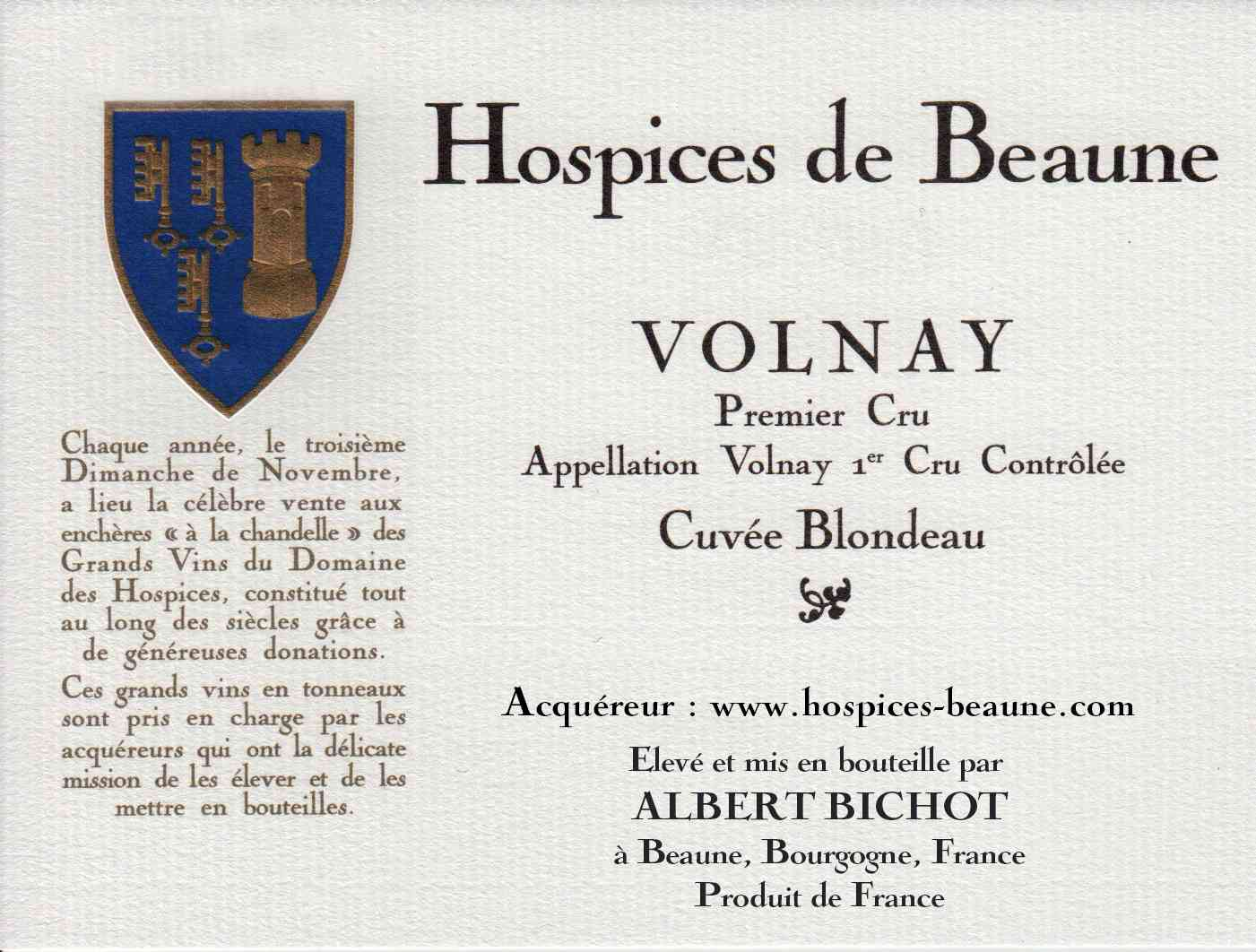 Encheres-auction-HospicesdeBeaune-AlbertBichot-Volnay-PremierCru-Cuvee-Blondeau
